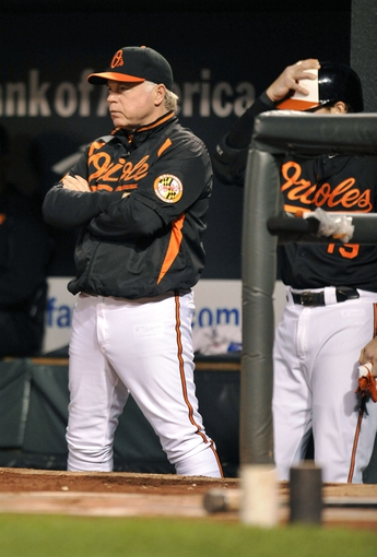 Sep 27, 2013; Baltimore, MD, USA; Baltimore Orioles manager Buck Showalter (26) during the third inning against the Boston Red Sox at Oriole Park at Camden Yards. Mandatory Credit: Joy R. Absalon-USA TODAY Sports