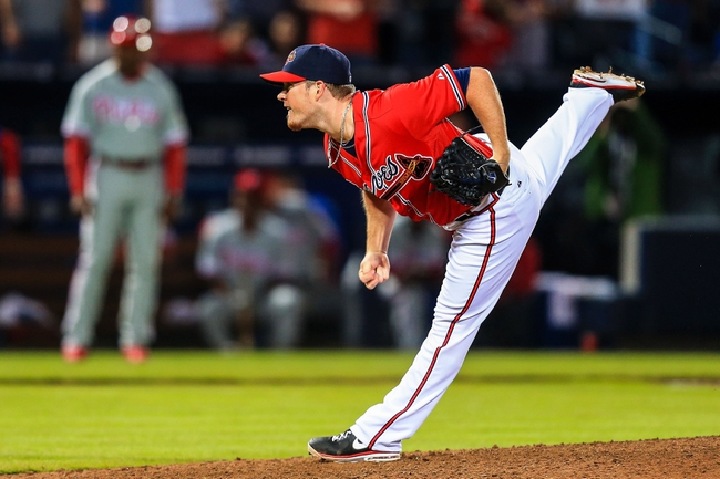 Sep 27, 2013; Atlanta, GA, USA; Atlanta Braves relief pitcher Craig Kimbrel (46) pitches in the ninth inning against the Philadelphia Phillies at Turner Field. The Braves won 1-0. Mandatory Credit: Daniel Shirey-USA TODAY Sports