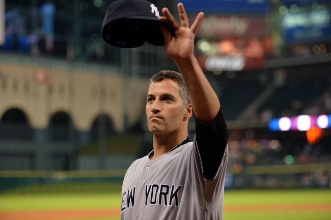 Sep 27, 2013; Houston, TX, USA; New York Yankees starting pitcher Andy Pettitte (46) tips his hat to the Houston Astros fans during the fifth inning at Minute Maid Park. Mandatory Credit: Thomas Campbell-USA TODAY Sports
