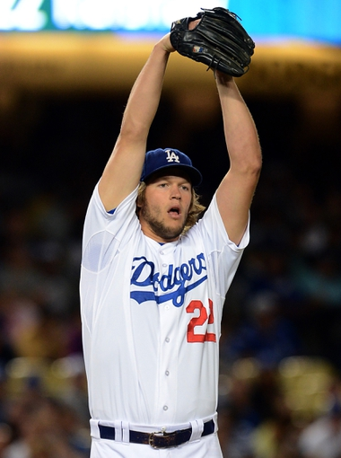 Sep 27, 2013; Los Angeles, CA, USA;  Los Angeles Dodgers starting pitcher Clayton Kershaw (22) during the game against the Colorado Rockies at Dodger Stadium. Mandatory Credit: Jayne Kamin-Oncea-USA TODAY Sports
