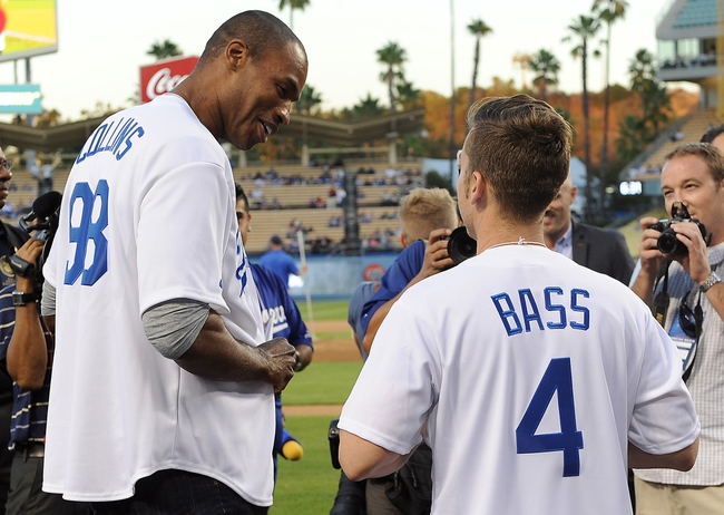 Sep 27, 2013; Los Angeles, CA, USA; NBA player Jason Collins and singer Lance Bass on hand at the first annual LGBT Night Out at Dodger Stadium prior to the game against the Los Angeles Dodgers and the Colorado Rockies. Mandatory Credit: Jayne Kamin-Oncea-USA TODAY Sports
