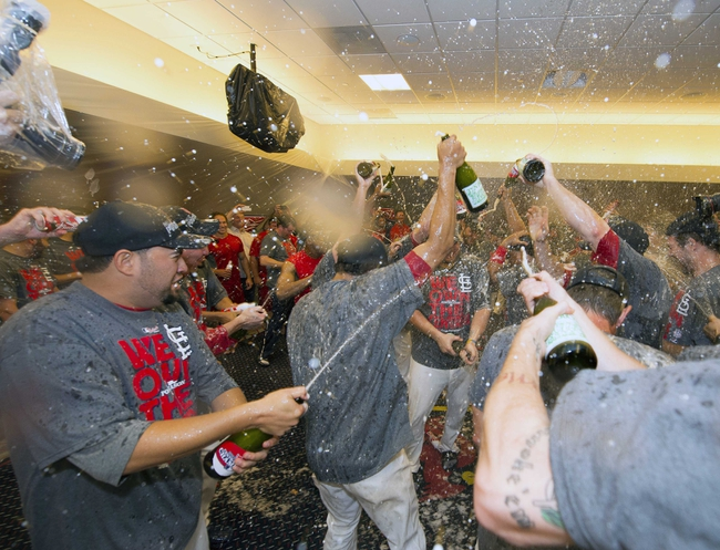 Sep 27, 2013; St. Louis, MO, USA; The St. Louis Cardinals celebrate after the game against the Chicago Cubs at Busch Stadium. The Cardinals defeated the Cubs 7-0 to win the National League Central Title. Mandatory Credit: Scott Rovak-USA TODAY Sports