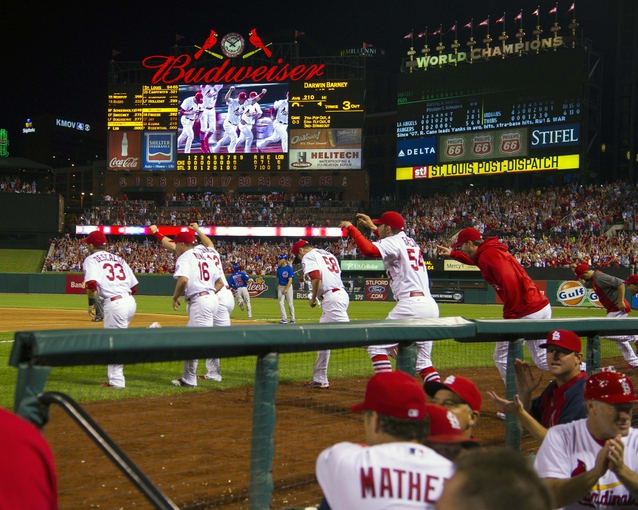 Sep 27, 2013; St. Louis, MO, USA; The St. Louis Cardinals rush the field after the game against the Chicago Cubs at Busch Stadium. The Cardinals defeated the Cubs 7-0 to win the National League Central Title. Mandatory Credit: Scott Rovak-USA TODAY Sports