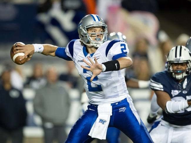 Sep 27, 2013; Provo, UT, USA; Middle Tennessee Blue Raiders quarterback Austin Grammer (2) passes the ball during the second half against the Brigham Young Cougars at Lavell Edwards Stadium. Brigham Young won 37-10. Mandatory Credit: Russ Isabella-USA TODAY Sports