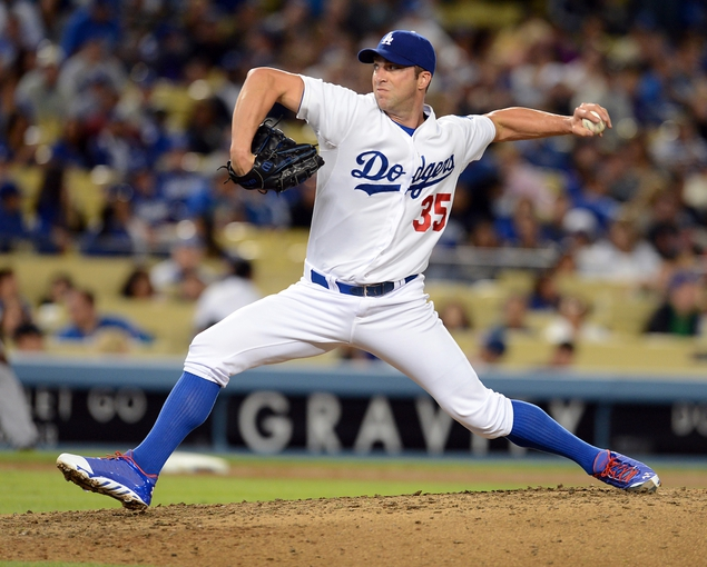 Sep 27, 2013; Los Angeles, CA, USA; Los Angeles Dodgers starting pitcher Chris Capuano (35) during the game against the Colorado Rockies at Dodger Stadium. Dodgers won 11-0. Mandatory Credit: Jayne Kamin-Oncea-USA TODAY Sports
