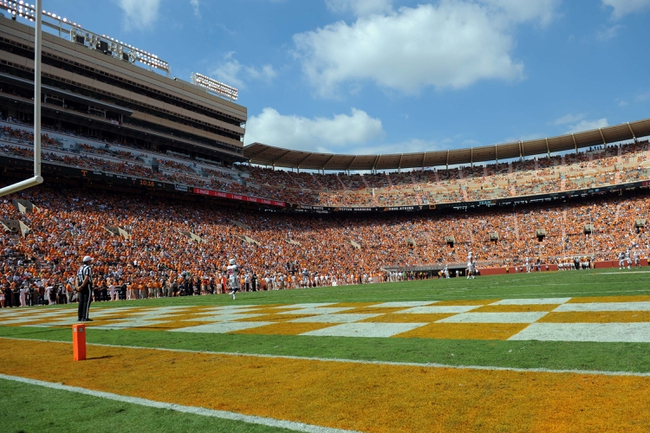 Sep 28, 2013; Knoxville, TN, USA; A general view of Neyland Stadium during the game between the Tennessee Volunteers and South Alabama Jaguars. Mandatory Credit: Randy Sartin-USA TODAY Sports