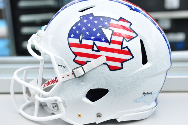 Sep 28, 2013; Chapel Hill, NC, USA; The North Carolina Tarheels helmets for military appreciation day against the East Carolina Pirates at Kenan Memorial Stadium. Mandatory Credit: Rob Kinnan-USA TODAY Sports