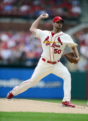 Sep 28, 2013; St. Louis, MO, USA; St. Louis Cardinals starting pitcher Adam Wainwright (50) throws to a Chicago Cubs  batter during the first inning at Busch Stadium. Mandatory Credit: Jeff Curry-USA TODAY Sports
