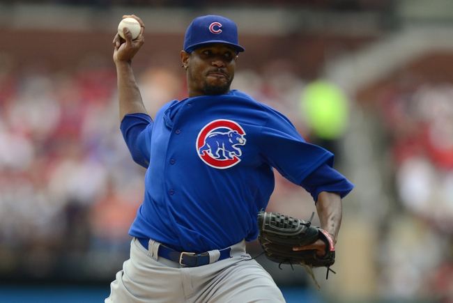 Sep 28, 2013; St. Louis, MO, USA; Chicago Cubs starting pitcher Edwin Jackson (36) throws to a St. Louis Cardinals batter during the second inning at Busch Stadium. Mandatory Credit: Jeff Curry-USA TODAY Sports