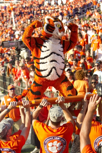 Sep 28, 2013; Clemson, SC, USA; Clemson Tigers mascot during the fourth quarter against the Wake Forest Demon Deacons at Clemson Memorial Stadium. Tigers won 56-7. Mandatory Credit: Joshua S. Kelly-USA TODAY Sports