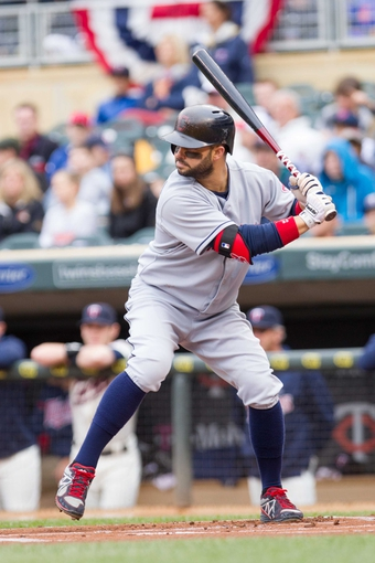 Sep 28, 2013; Minneapolis, MN, USA; Cleveland Indians first baseman Nick Swisher (33) at bat in the first inning against the Minnesota Twins at Target Field. Mandatory Credit: Brad Rempel-USA TODAY Sports