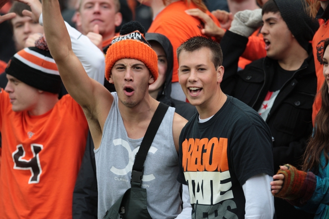 Sep 28, 2013; Corvallis, OR, USA; Oregon State Beavers fans celebrate against the Colorado Buffaloes at Reser Stadium. Mandatory Credit: Scott Olmos-USA TODAY Sports