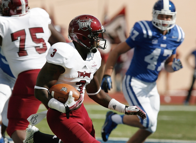 Sep 28, 2013; Durham, NC, USA;  Troy Trojans wide receiver Eric Thomas (3) carries the ball against the Duke Blue Devils at Wallace Wade Stadium. Mandatory Credit: Mark Dolejs-USA TODAY Sports