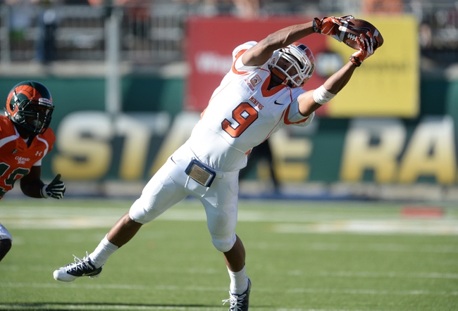 Sep 28, 2013; Fort Collins, CO, USA; UTEP Miners wide receiver Jordan Leslie (9) pulls in a reception against the Colorado State Rams in the fourth quarter at Hughes Stadium. The Rams defeated the Miners 59-42. Mandatory Credit: Ron Chenoy-USA TODAY Sports