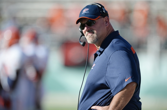 Sep 28, 2013; Fort Collins, CO, USA; UTEP Miners head coach Sean Kugler on his sidelines during the game against the Colorado State Rams at Hughes Stadium. The Rams defeated the Miners 59-42. Mandatory Credit: Ron Chenoy-USA TODAY Sports