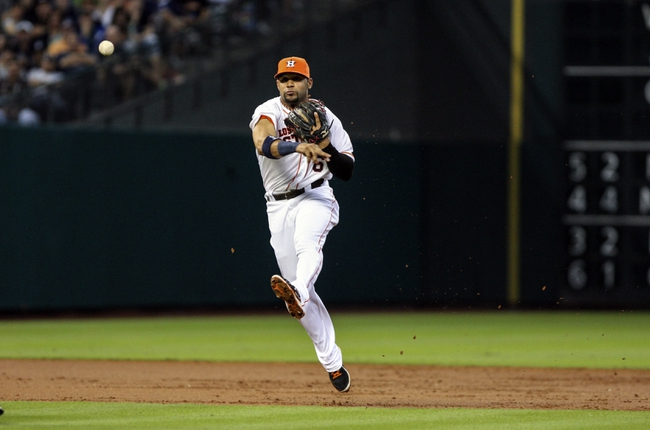 Sep 28, 2013; Houston, TX, USA; Houston Astros shortstop Jonathan Villar (6) throws to first base during the second inning against the New York Yankees at Minute Maid Park. Mandatory Credit: Troy Taormina-USA TODAY Sports