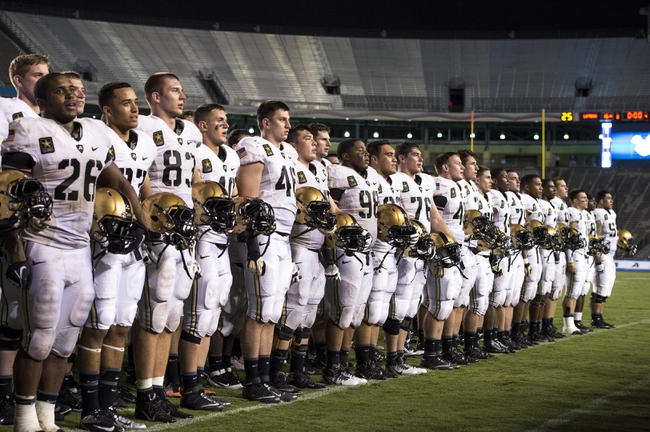 Sep 28, 2013; Dallas, TX, USA; The Army Black Knights sing their alma mater after the win over the Louisiana Tech Bulldogs at the Cotton Bowl Stadium. The Black Knights defeated the Bulldogs 35-16. Mandatory Credit: Jerome Miron-USA TODAY Sports