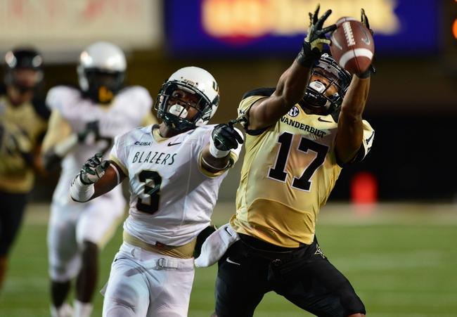 Sep 28, 2013; Nashville, TN, USA; Vanderbilt Commodores wide receiver Jordan Matthews (87) reaches for a pass against the Alabama-Birmingham Blazers during the first half at Vanderbilt Stadium. Mandatory Credit: Don McPeak-USA TODAY Sports