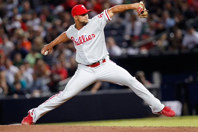 Sep 28, 2013; Atlanta, GA, USA; Philadelphia Phillies relief pitcher Luis Garcia (57) throws a pitch against the Atlanta Braves in the fourth inning at Turner Field. Mandatory Credit: Brett Davis-USA TODAY Sports