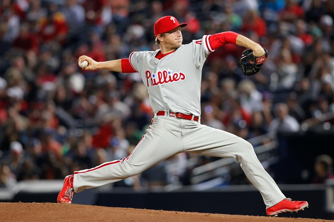 Sep 28, 2013; Atlanta, GA, USA; Philadelphia Phillies starting pitcher Ethan Martin (49) throws a pitch against the Atlanta Braves in the third inning at Turner Field. Mandatory Credit: Brett Davis-USA TODAY Sports