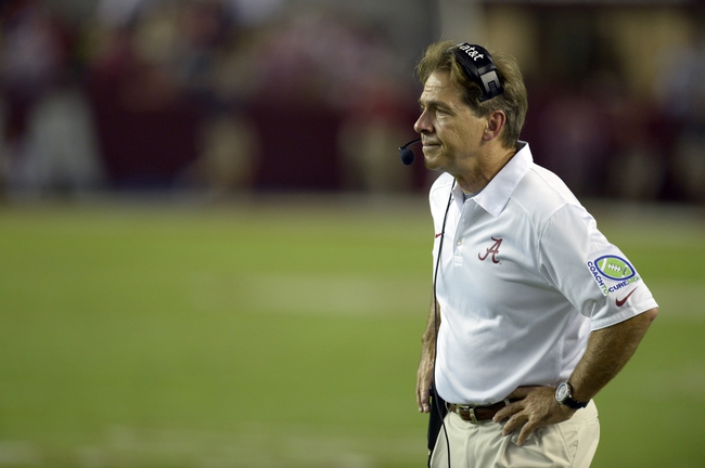 Sep 28, 2013; Tuscaloosa, AL, USA; Alabama Crimson Tide head coach Nick Saban watches his team from the sidelines against the Mississippi Rebels during the fourth quarter at Bryant-Denny Stadium. The Alabama Crimson Tide defeated the Mississippi Rebels 25-0. Mandatory Credit: John David Mercer-USA TODAY Sports