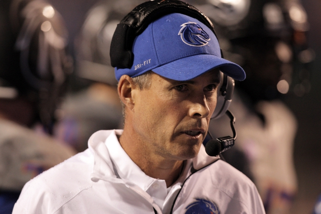 Sep 28, 2013; Boise, ID, USA; Boise State Broncos head coach Chris Petersen during the first half against the Southern Miss Golden Eagles at Bronco Stadium. Mandatory Credit: Brian Losness-USA TODAY Sports