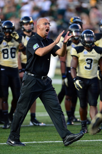 Sep 28, 2013; Nashville, TN, USA; Vanderbilt Commodores head coach James Franklin directs his team during warm ups before a game against the Alabama-Birmingham Blazers at Vanderbilt Stadium. The Commodores beat the Blazers 52-24. Mandatory Credit: Don McPeak-USA TODAY Sports