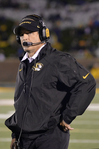 Sep 28, 2013; Columbia, MO, USA; Missouri Tigers head coach Gary Pinkel looks up at the score board during the second half against the Arkansas State Red Wolves  at Faurot Field. Mandatory Credit: Jasen Vinlove-USA TODAY Sports