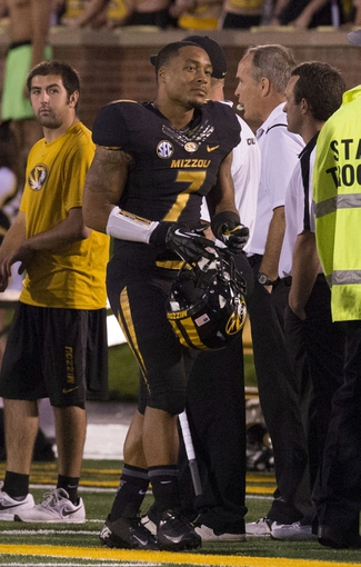 Sep 28, 2013; Columbia, MO, USA; Missouri Tigers defensive back Randy Ponder (7) reacts after being disqualified from the game against the Arkansas State Red Wolves during the first half at Faurot Field. Mandatory Credit: Jasen Vinlove-USA TODAY Sports