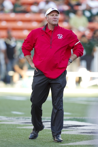 Sep 28, 2013; Honolulu, HI, USA;  Fresno State head coach Tim DeRuyter is seen before the start of the Fresno State vs. Hawaii NCAA college football game. Mandatory Credit: Marco Garcia-USA TODAY Sports