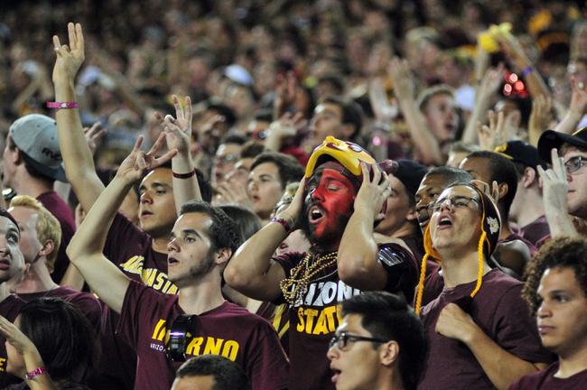Sep 28, 2013; Tempe, AZ, USA; Arizona State Sun Devils react after a USC Trojans touchdown during the second half at Sun Devil Stadium. Mandatory Credit: Matt Kartozian-USA TODAY Sports