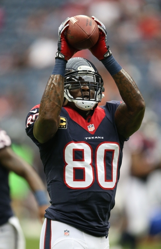Sep 29, 2013; Houston, TX, USA; Houston Texans receiver Andre Johnson (80) catches a pass prior to the game against the Seattle Seahawks at Reliant Stadium. Mandatory Credit: Matthew Emmons-USA TODAY Sports
