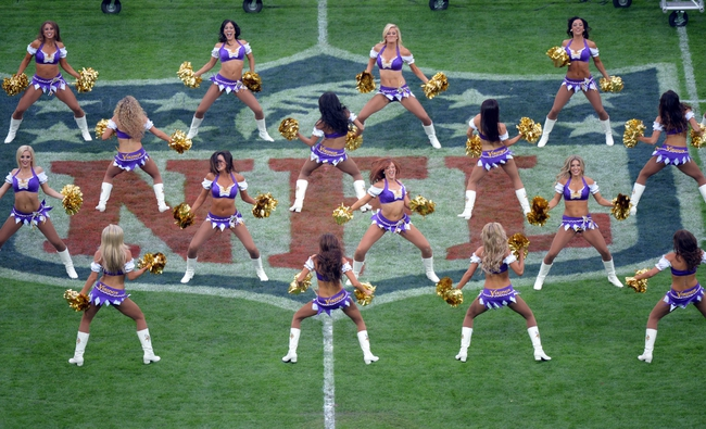 Sep 29, 2013; London, UNITED KINGDOM; Minnesota Vikings cheerleaders perfrom during the NFL International Series game against the Pittsburgh Steelers at Wembley Stadium. Mandatory Credit: Bob Martin-USA TODAY Sports