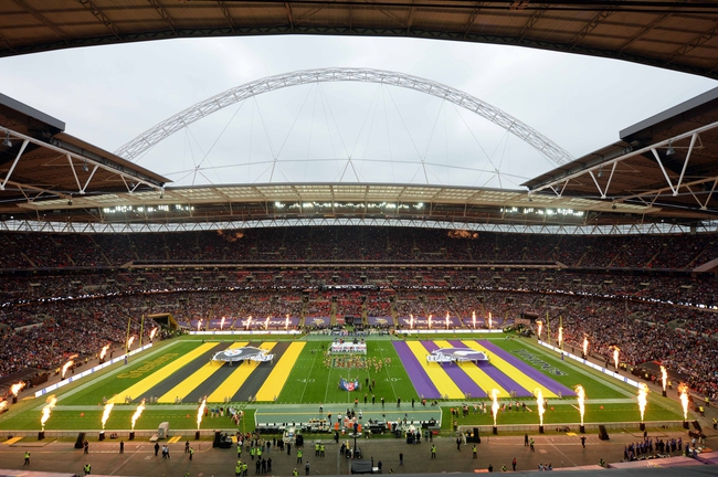 Sep 29, 2013; London, UNITED KINGDOM; A general view of pregame festivities before the NFL International Series game between the Pittsburgh Steelers and the Minnesota Vikings at Wembley Stadium. Mandatory Credit: Bob Martin-USA TODAY Sports