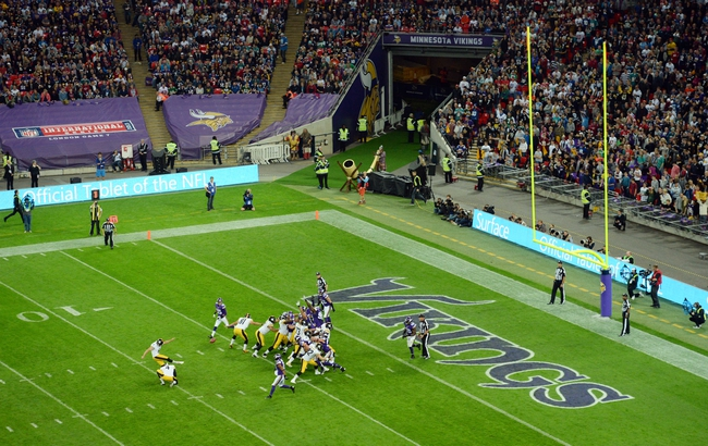 Sep 29, 2013; London, UNITED KINGDOM; Pittsburgh Steelers kicker Shaun Suisham attempts a field goal against the Minnesota Vikings during the NFL International Series game at Wembley Stadium. Mandatory Credit: Bob Martin-USA TODAY Sports