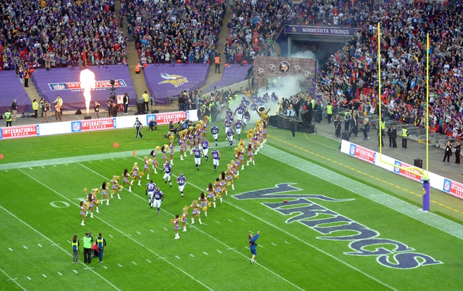 Sep 29, 2013; London, UNITED KINGDOM; Members of the Minnesota Vikings take the field before the NFL International Series game against the Pittsburgh Steelers at Wembley Stadium. Mandatory Credit: Bob Martin-USA TODAY Sports