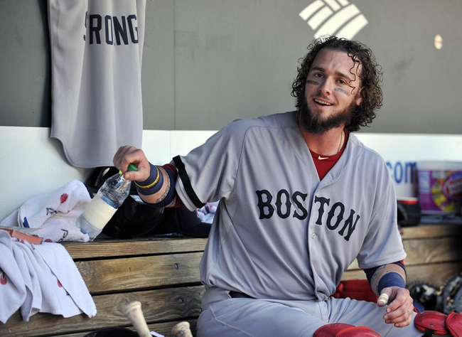 Sep 29, 2013; Baltimore, MD, USA; Boston Red Sox catcher Jarrod Saltalamacchia (39) in the dugout during a game against the Baltimore Orioles at Oriole Park at Camden Yards. Mandatory Credit: Joy R. Absalon-USA TODAY Sports