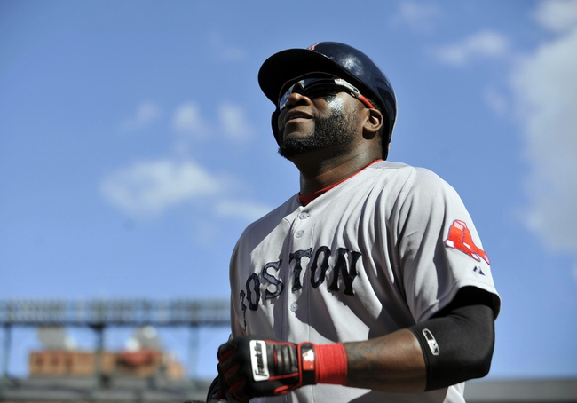 Sep 29, 2013; Baltimore, MD, USA; Boston Red Sox designated hitter David Ortiz (34) during a game against the Baltimore Orioles at Oriole Park at Camden Yards. Mandatory Credit: Joy R. Absalon-USA TODAY Sports