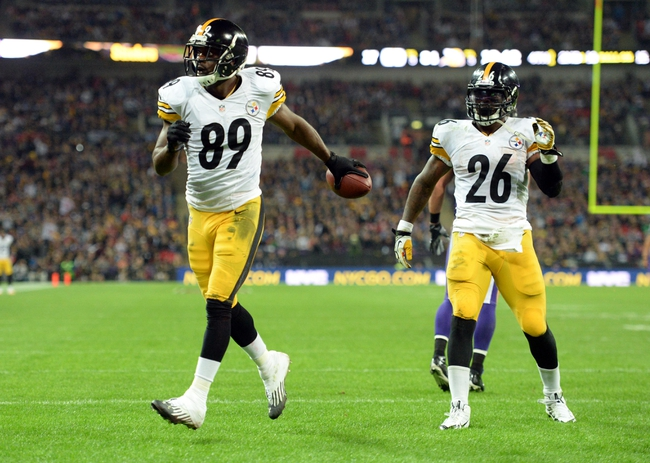 Sep 29, 2013; London, UNITED KINGDOM; Pittsburgh Steelers wide receiver Jerricho Cotchery (89) celebrates a touchdown against the Minnesota Vikings during the NFL International Series game at Wembley Stadium. Mandatory Credit: Bob Martin-USA TODAY Sports