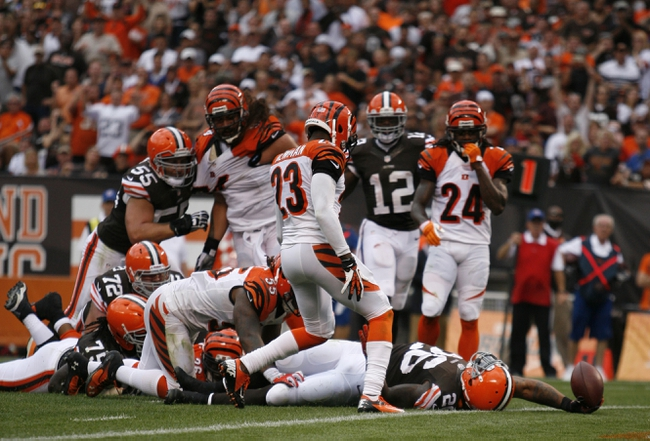Sep 29, 2013; Cleveland, OH, USA; Cleveland Browns running back Willis McGahee tries reaching for a touchdown but is ruled short during the fourth quarter against the Cincinnati Bengals at FirstEnergy Stadium. Browns beat the Bengals 17-6. Mandatory Credit: Raj Mehta-USA TODAY Sports