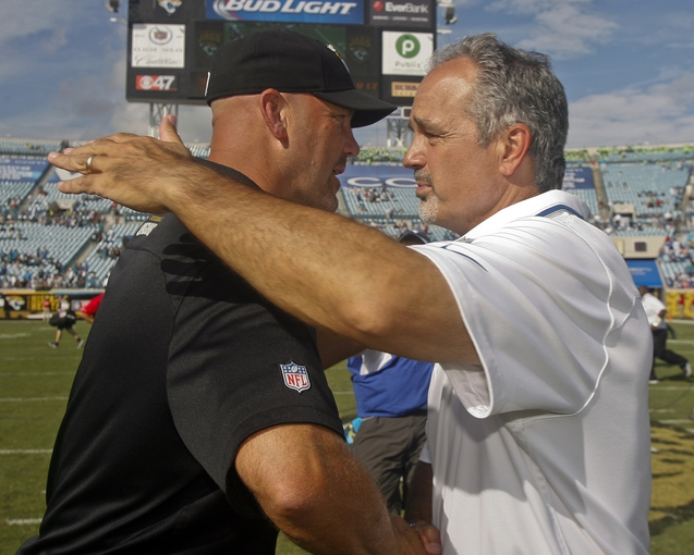 Sep 29, 2013; Jacksonville, FL, USA; Jacksonville Jaguars head coach Gus Bradley and Indianapolis Colts head coach Chuck Pagano chat after their game at EverBank Field. The Indianapolis Colts beat the Jacksonville Jaguars 37-3. Mandatory Credit: Phil Sears-USA TODAY Sports