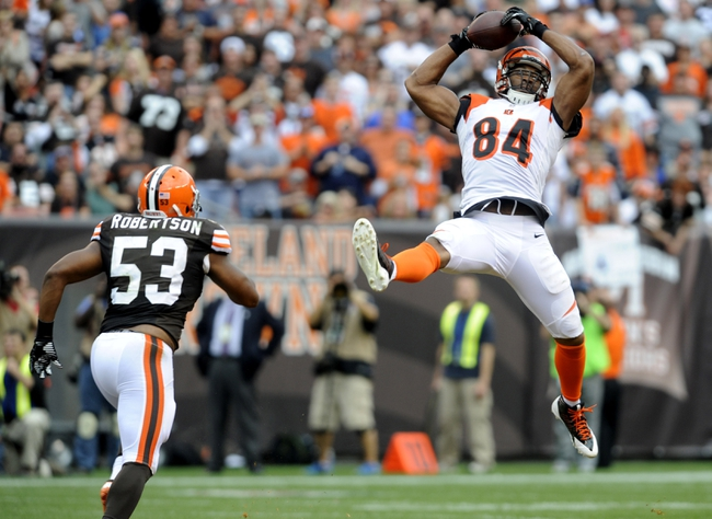 Sep 29, 2013; Cleveland, OH, USA; Cincinnati Bengals tight end Jermaine Gresham (84) makes a leaping catch as Cleveland Browns inside linebacker Craig Robertson (53) defends during the third quarter at FirstEnergy Stadium. The Browns beat the Bengals 17-6.  Mandatory Credit: Ken Blaze-USA TODAY Sports