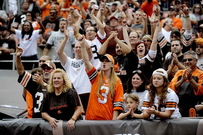 Sep 29, 2013; Cleveland, OH, USA; Cleveland Browns fans cheer after the Browns beat the Cincinnati Bengals 17-6 at FirstEnergy Stadium. Mandatory Credit: Ken Blaze-USA TODAY Sports