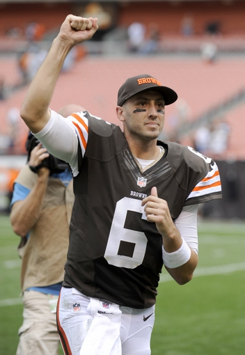 Sep 29, 2013; Cleveland, OH, USA; Cleveland Browns quarterback Brian Hoyer (6) leaves the field after the Browns beat the Cincinnati Bengals 17-6. at FirstEnergy Stadium. Mandatory Credit: Ken Blaze-USA TODAY Sports