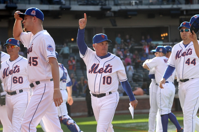Sep 29, 2013; New York, NY, USA; New York Mets manager Terry Collins (10) waves to the fans after a game at Citi Field. The Mets won 3-2. Mandatory Credit: Brad Penner-USA TODAY Sports