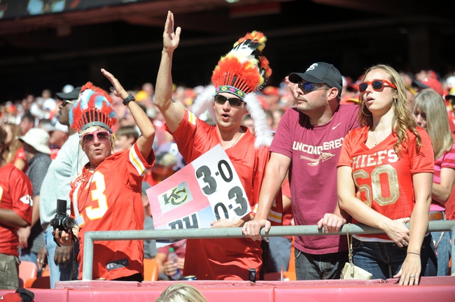 Sep 29, 2013; Kansas City, MO, USA; A Kansas City Chiefs fans shows their support during the second half of the game against the New York Giants at Arrowhead Stadium. The Chiefs won 31-7. Mandatory Credit: Denny Medley-USA TODAY Sports