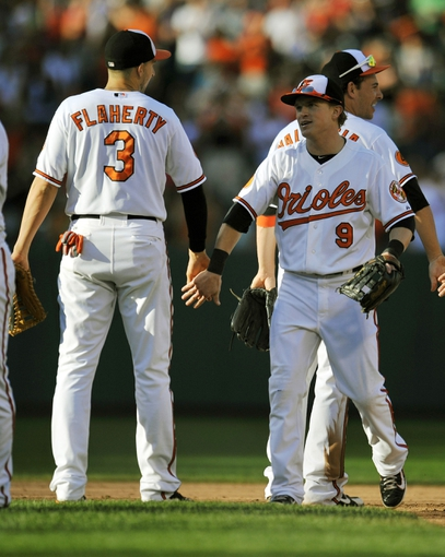 Sep 29, 2013; Baltimore, MD, USA; Baltimore Orioles teammates Ryan Flaherty (3) and Nate McLouth (9) celebrate after the game against the Boston Red Sox at at Oriole Park at Camden Yards. The Orioles won 7-6. Mandatory Credit: Joy R. Absalon-USA TODAY Sports