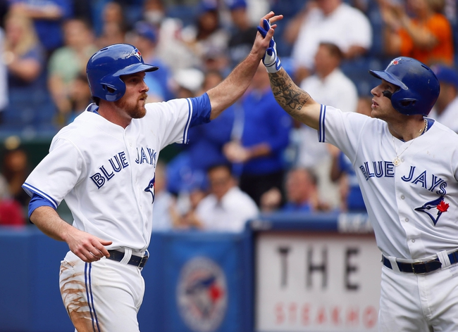Sep 29, 2013; Toronto, Ontario, CAN; Toronto Blue Jays first baseman Ryan Langerhans (18) is congratulated by third baseman Brett Lawrie (13) after scoring in the eighth inning against the Tampa Bay Rays at Rogers Centre. Tampa defeated Toronto 7-6. Mandatory Credit: John E. Sokolowski-USA TODAY Sports