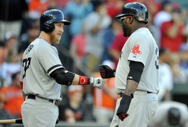 Sep 29, 2013; Baltimore, MD, USA; Boston Red Sox designated hitter David Ortiz (34) is congratulated by Mike Carp (37) after scoring a run in the ninth inning at Oriole Park at Camden Yards. The Orioles won 7-6. Mandatory Credit: Joy R. Absalon-USA TODAY Sports
