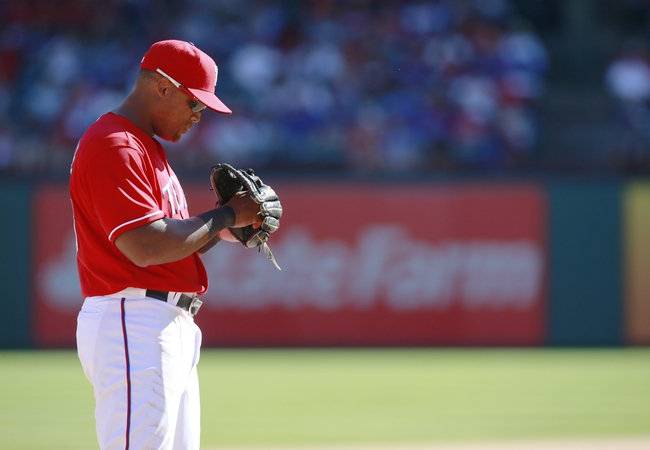 Sep 29, 2013; Arlington, TX, USA; Texas Rangers third baseman Adrian Beltre (29) on the field during the game against the Los Angeles Angels at Rangers Ballpark in Arlington. The Rangers beat the Angels 6-2. Mandatory Credit: Tim Heitman-USA TODAY Sports